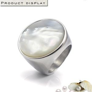 Mother of Pearl Ring Stainless Steel Round Size 6